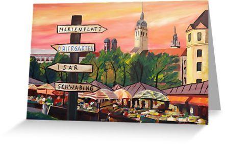 Munchen Bayern Viktualienmarkt Mit Wegweisern Grusskarte Von Artshop77 Idee Farbe Kunstdruck Painting