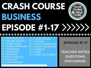 Crash Course Business Bundle Soft Skills Crash Course Teacher Lesson Plans