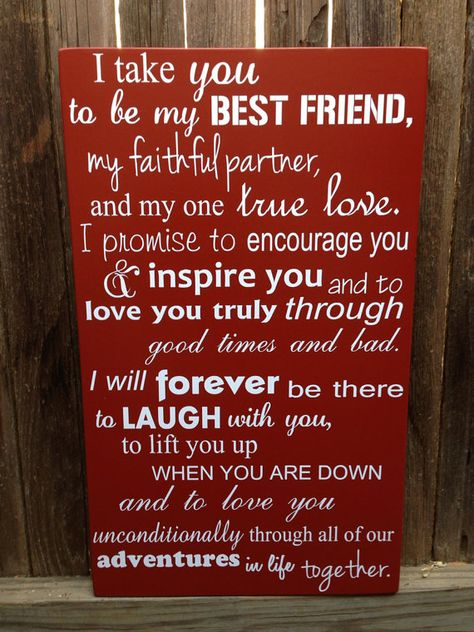 Wedding Vows Handmade Wood Sign This would be a perfect wedding gift, or 5th anniversary present!  ***Customize and Personalize this sign with