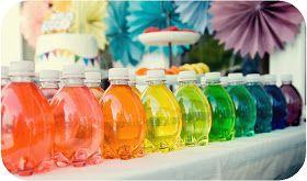 Rainbow water bottles-- Rainbow party ideas