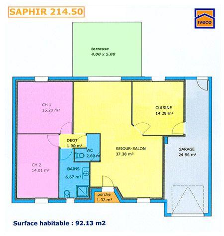 plan de maison plein pied gratuit 3 chambres | plan maison ... - Plan Maison Plain Pied 2 Chambres Gratuit