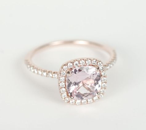 This is it. Just... Wow. Certified Peach Pink Cushion Sapphire Diamond Halo Engagement Ring 14K Rose Gold
