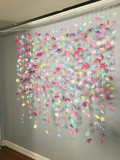 Anthropologie Inspired Paper Flower Garland : Rainbow