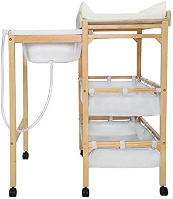 Tectake Baby Toddler Changing Table Station With Integrated Bath Tub Unit Storage Boxes Pad Wood Amazon Co Uk Baby Changing Table Storage Boxes Storage