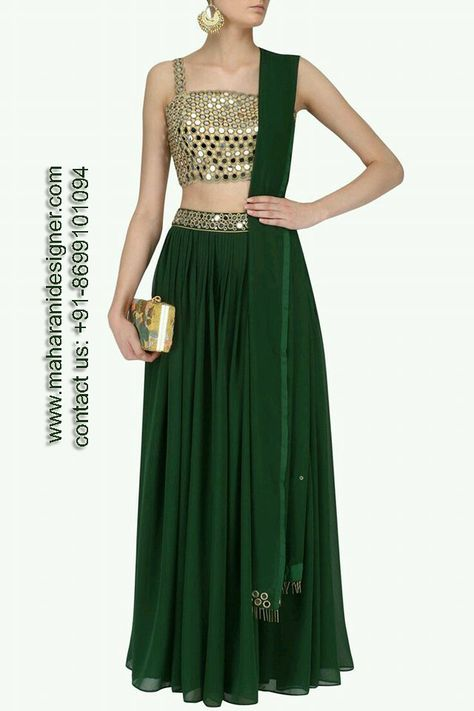 Ruhmahsa presents Gold mirror work blouse and bottle green lehenga set available only at Pernia's Pop Up Shop.
