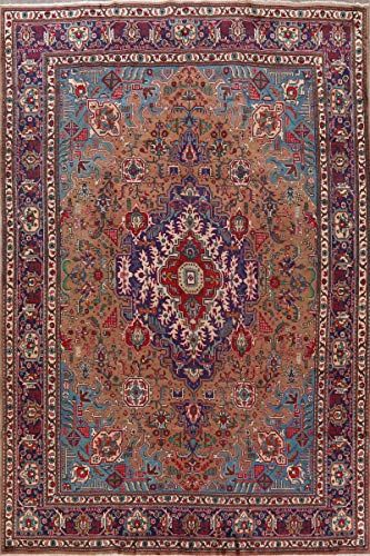 Stunning Vintage Brown Blue Traditional Geometric Tabriz Persian