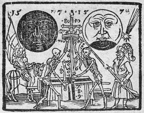 nocturnal-slayer:  From 1607, the appearance of Halley's Comet(before Halley's name was associated with it).Note the total and partial eclipses, the comet,soldiers, and death (probably plague).