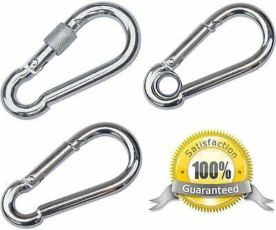 Large Small Stainless Steel Carabiner Clip HEAVY DUTY Screw Lock Snap Hook Clip
