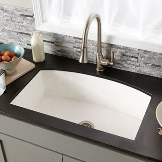 Farmhouse Quartet 33 Inch Nativestone Curved Kitchen Sink Slate