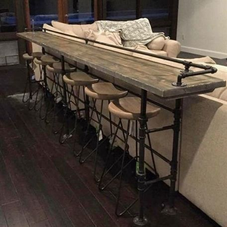 I Am Seriously In Love Bar For Behind The Chairs In The Media Room Bar From Wood And Pipes Wonderful Diy Bar Homedecorideaslivingroom In 2020 Bars For Home Home Home Decor