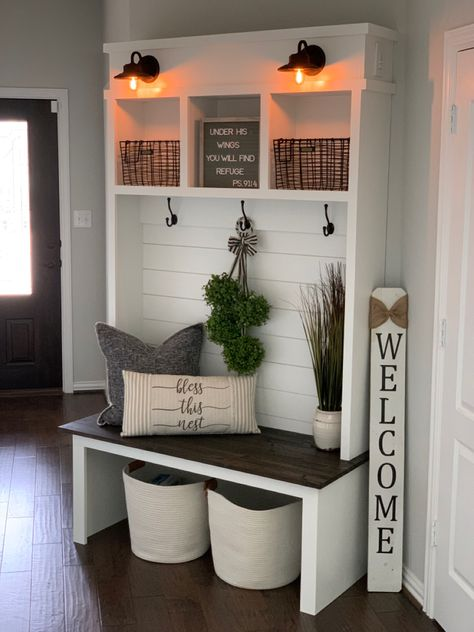 Custom mud room with dimmable mini gooseneck lights. Shiplap accent wall and rustic bench seating. Small Mudroom Ideas, Diy Home Decor, Room Decor, Decor Crafts, Entryway Decor, Front Entry Decor, Entryway Shoe Storage, Entryway Furniture, Repurposed Furniture