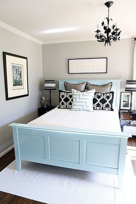 Blue And Grey Color Small Yet Welcoming Guest Bedroom Decorative