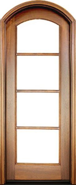 Mahogany Full View Sdl 4 Lite Horizontal Bars Impact Single Door Arch Top 1 3 4 Thick Single Doors French Doors Patio Brick Molding