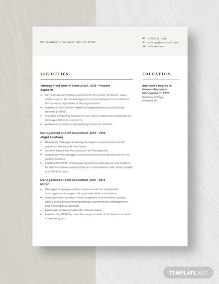 Management And Hr Consultant Resume Cv Template Word Apple Pages Resume Template Cv Template Word Resume