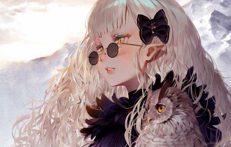 Wallpaper Girl, long hair, anime, art, birds, glasses