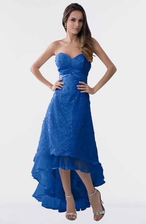 40b014d0627d ColsBM Isabel Royal Blue Simple A-line Zipper Tea Length Paillette Plus  Size Bridesmaid Dresses