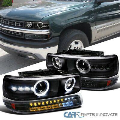 Ad Ebay For 99 02 Silverado 00 06 Suburban Black Projector Headlights Led Bumper Lamps Projector Headlights 2002 Chevy Silverado Led Halos