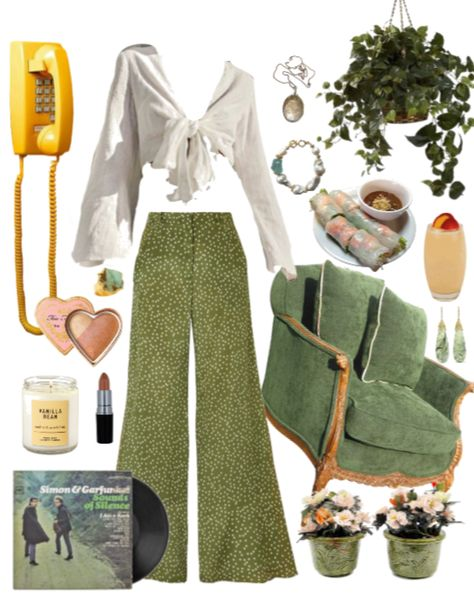 retro inspired look. Discover outfit ideas for brunch made with the shoplook outfit maker. How to wear ideas for Vanilla Bean Single Wick and yellow phone 70s Outfits, Vintage Outfits, Hippie Outfits, Casual Outfits, Summer Outfits, Fashion Outfits, Concert Outfits, Festival Outfits, 70s Inspired Fashion