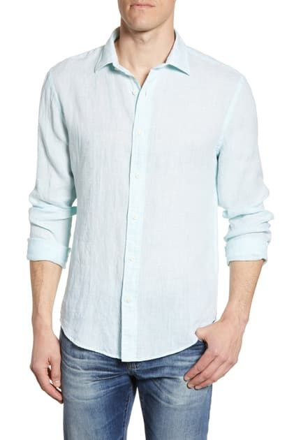 Faherty Regular Fit Linen Button up Shirt In Turquoise