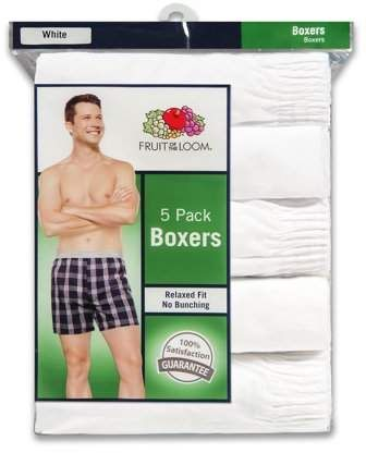 Fruit of the Loom Mens 5Pack Knit Boxer Shorts Boxers Cotton Underwear M
