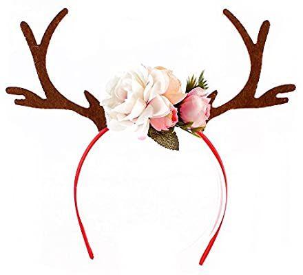 Axusndas Frauen Madchen Headwear Hubsches Hirschgeweih Blumen Stil