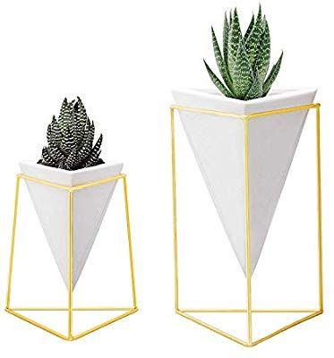 Nellam Modern Geometric Table Vases Set Of 2 1 X Large 1 X Small White Ceramic Porcelain Style Bas Geometric Table Boho Bridal Shower Vase Set