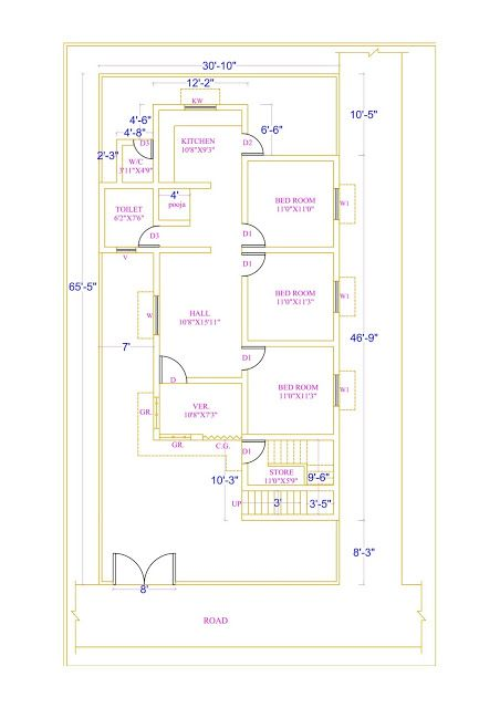 3bhk House Plan House Plans How To Plan House Map