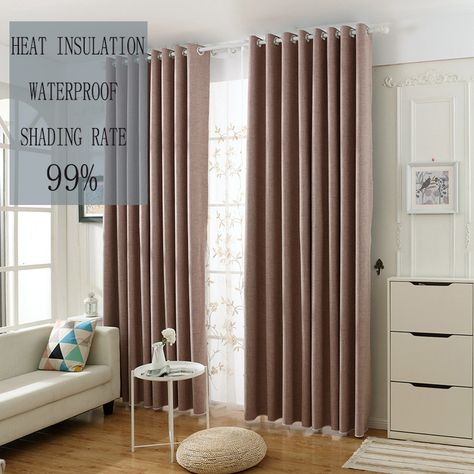Rideau Occultant Couleur Pure Rose Imperméable Pour Chambre à Coucher Simple  Moderne