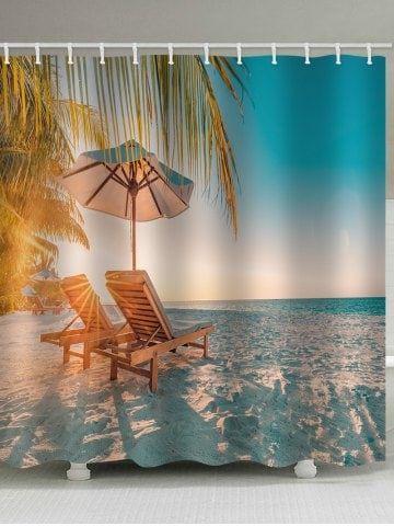 Beach Chair Print Waterproof Shower Curtain Printed Chair Beach
