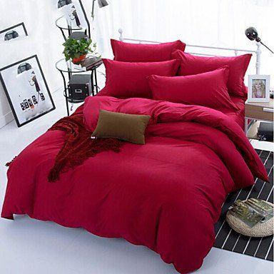 Sishuinianhua Solid 4 Piece Cotton Cotton 1pc Duvet Cover 2pcs Shams 1pc Flat Sheet Dark Red Full Flat Sheets Bedding Sets Duvet Covers