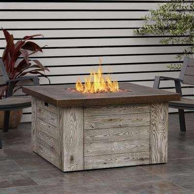 Forest Ridge 42 In Fiber Cast Concrete Propane Fire Pit Table In
