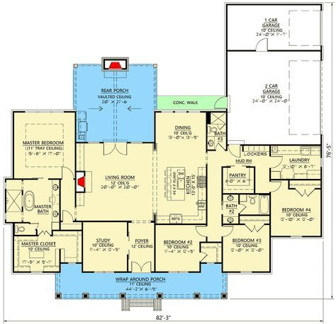 Plan 56438sm Modern Farmhouse Plan With Vaulted Rear Porch Architectural Design House Plans Modern Farmhouse Plans Farmhouse Plans