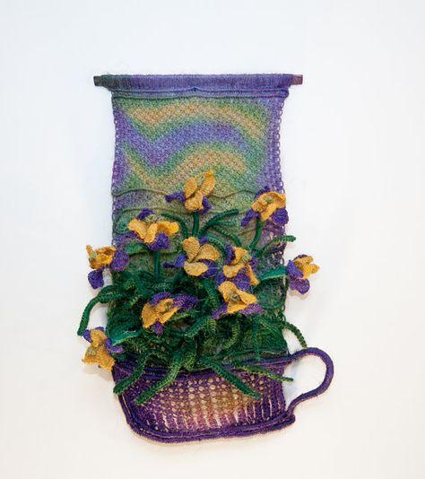 Macrame Wall Hanging 'Basket of Irises'  Handmade by @Macrame Art