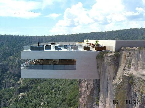 The Copper Canyon cliff in Mexico has been chosen by Tall Architects to build a restaurant that is based on a rock and completely suspended in the air. It seems that the Bire Bitori is a heart-stopping restaurant that was designed for adrenaline junkies and thrill seekers. This high preforming cantilevered concrete structure, highlights a top level swimming pool …