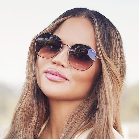 Celebrity fashion Aviator Sunglasses PEACH Gradient len