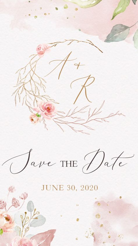 Rustic Save the Date Invitation video perfect to invite your guests to your romantic wedding. Featuring gold and pink flowers and leaves. No need to spend hours writing out addresses and posting envelopes – save yourself the time and send your digital Save the Date invitations via email, WhatsApp or social media. Pin this + explore our whole range of video invitations on our website!