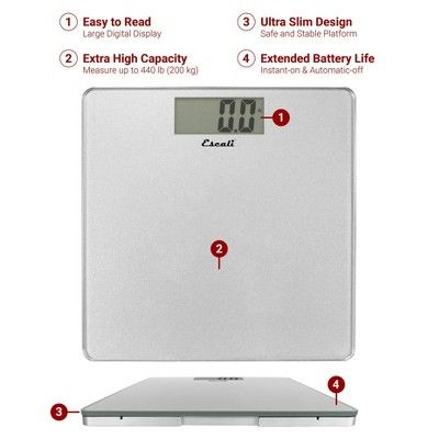 Glass Platform Bathroom Scale Escali Adult Unisex Silver Scale Body Scale Bathroom
