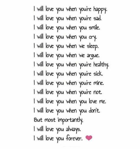 I love you..............