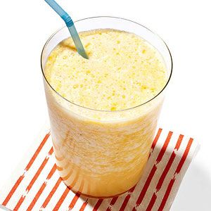 Orange Smoothie - 1 orange, 1 cup ice cubes, 1/2 cup milk, 1 tsp honey, 1/2 tsp vanilla.