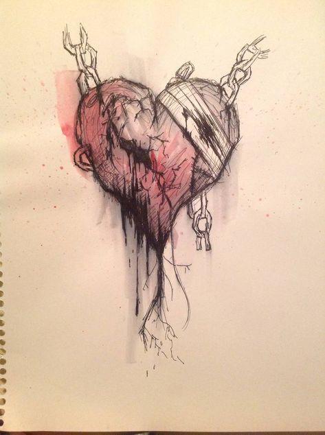 Emo Heart by RogueNinjaMorganna on DeviantArt Badass Drawings, Creepy Drawings, Dark Art Drawings, Tattoo Drawings, Broken Heart Drawings, Broken Heart Art, Broken Heart Quotes, Heart Break Drawings, Broken Heart Sketch