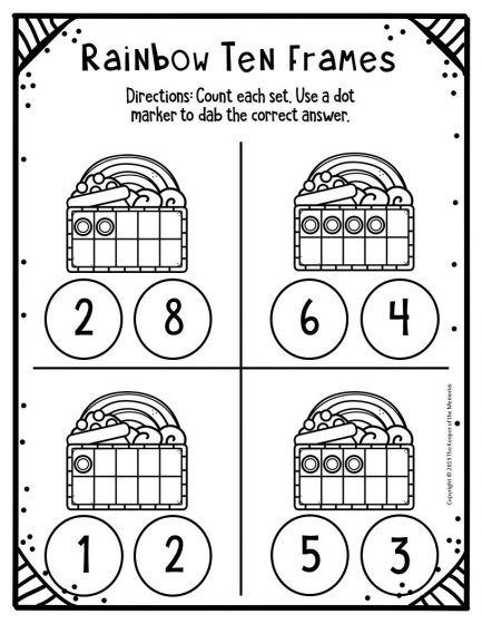 Free Rainbow Printable Ten Frame Worksheets Kindergarten Worksheets Free Printables Math Notebooks Basic Math Skills