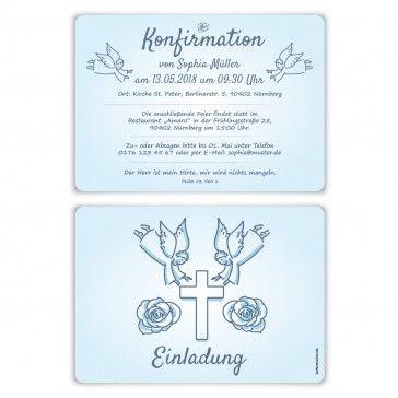 Konfirmation Einladungskarten Engelberuhrung Engel Beruhrung Kreuz Rose Hellblau Einladung Einladungskarten Konfirmationskarten Einladung Einladungen