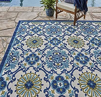 Amazon Com Gertmenian 21621 Indoor Outdoor Rugs Patio Area Carpet 8x10 Large Blue Abstract Medallio Green Outdoor Rug Outdoor Rugs Cheap Outdoor Rugs Patio