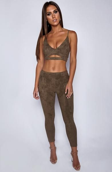 Don't you need thisbadly? Yup!  Colour: Khaki Cotton / Polyester Moulds to body figure Soft suede like material Visible back zipper on pants Visible side zipper on crop Adjustable shoulder straps   Model is a Size S, and wears a Size S. She is 177cm tall.