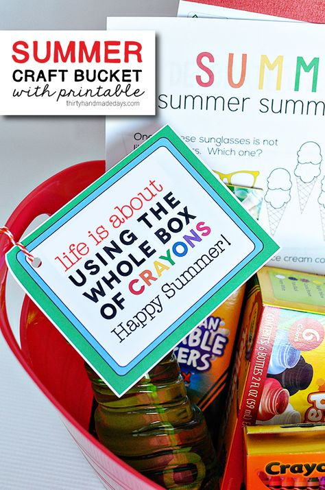 Summer Craft Bucket with cute printable