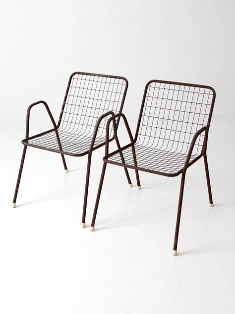 Mid Century Patio Chairs Metal Wire Chairs Set Of 2 Metal