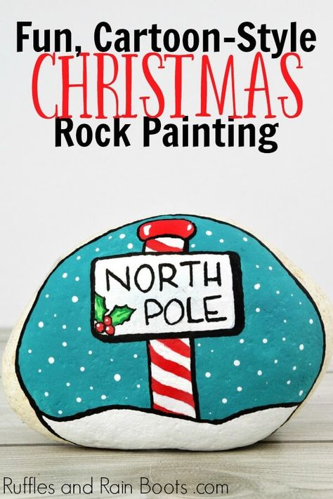 North Pole Christmas Painted Rock Idea North Pole Christmas Painted Rock Idea Michaela Lawton Bemalte Steine This north pole Christmas rock painting idea is just nbsp hellip Rock Painting Patterns, Rock Painting Ideas Easy, Rock Painting Designs, Stone Crafts, Rock Crafts, Xmas Crafts, Pebble Painting, Stone Painting, Daisy Painting