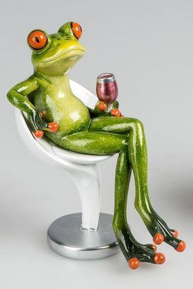 Dekofigur lustiger Yoga Frosch mit einer Hand nach oben 8 cm