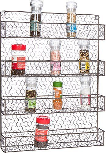 Trademark Innovations Orgnzr Lg Spice Rack Storage Organizer Wire Silver And Black For S Spice Rack Storage Wall Mounted Spice Rack Kitchen Remodel Countertops
