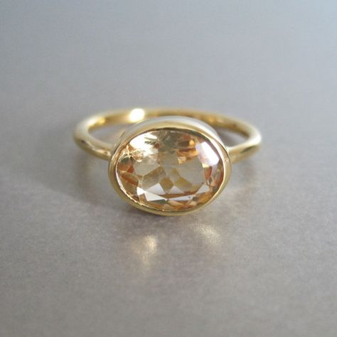 Semi Precious Citirne Oval Gold Ring by Tangerine Jewelry Shop